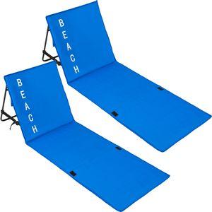 tectake 2 Strandmatten mit verstellbaren Lehnen - blau