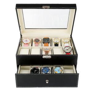 Uhrenbox Uhrenkoffer Aufbewahrungsbox für 20 Uhren - Holz 28.5x20.5x15cm