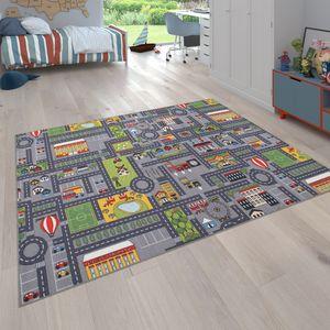 Spielteppich Kinderteppich Kinderzimmer Straßenteppich Mit Auto Motiv, In Grau, Grösse:80x150 cm