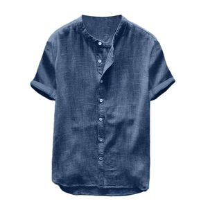 Männer Lässig Einfarbig Kurzarm Baumwolle Leinen Knöpfe Loses Hemd Saphirblau XL