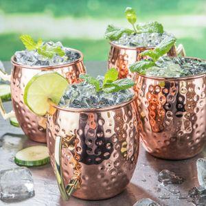 4er Set Mule Becher aus Edelstahl mit Kupfer Kupferbecher Cocktailkrug 500 ml