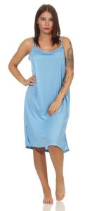 Damen Nachthemd Sleepshirt Nachtwäsche Sommer ohne Ärmel, Hell-Blau XL