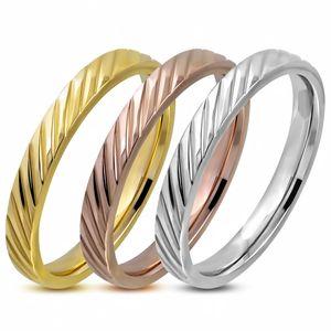 Damen-Ring Edelstahl Diagonal Streifen 3-farbig Triple Dreierring 3 in 1 Bandring Autiga® silber-gold-rosegold 57 - Ø 18,05 mm