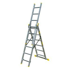 Aluleiter Klappleiter  3X6 Sprossen Stehleiter Haushalts Leitern 150Kg