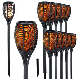 LED Solar Fackel 12er Set 52cm Garten Leuchte Lampe Gartendekoration Lichtquelle 12 LEDs Bodenspieß
