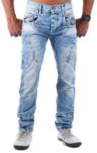 Cipo & Baxx Herren-Jeans Zip-Design Regular Fit Jeanshose C-894A Hellblau W31 / L34