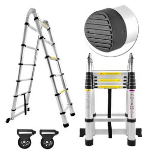 LZQ Aluminium Teleskopleiter 3,8m klappbar Multifunktionsleiter Aluleiter Klappleiter 150 kg Belastbarkeit (3,8m klappbar)
