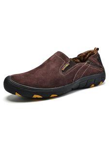 (Weinrot mit Samt,45)Morydal Herren Mode Freizeit Schuhe Leichte Wander Schuhe Bequeme Mokassin Schuhe Rutschfeste Loafer