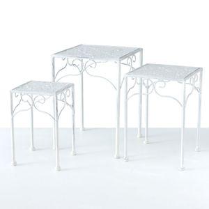 Pflanzenhocker aus Metall im 3er Set - Farbe: weiß