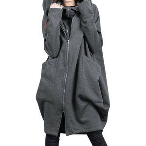 Damen Kapuzen-Taschenreißverschluss mittellang fälschen zwei lose Mäntel,Farbe: Grau,Größe:5XL
