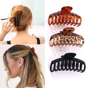 6 Stück Große Haarklammer, 11cm Vintage Einfache Klaue Clips Rutschfest Haarspangen, Pferdeschwanz-Halter, Haar-Accessoires für Frauen Damen Mädchen(Schwarz, Rotwein und Gelb)