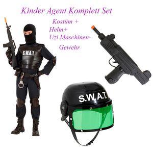 Kinder Komplett Set SWAT Kostüm + UZI Maschinengewehr & SWAT Helm # Gr. 140