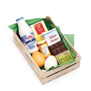 Erzi Sortiment in der Holzsteige Backzutaten, Spielzeug-Lebensmittel, Kaufladenzubehör