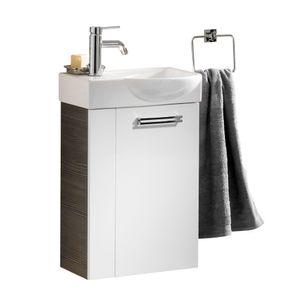 Gäste WC Waschtisch Como inkl. Keramikbecken, Pinie anthrazit Nb./Hochglanz weiß FACKELMANN