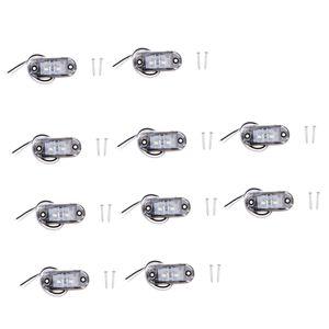 10 stücke 12 v-24 v auto lkw anhänger anzeige seitenmarker 2led lichter weiß wie beschrieben
