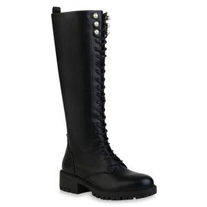 Mytrendshoe Damen Stiefel Leicht Gefütterte Schnürstiefel Schnürer Schuhe 835634, Farbe: Schwarz, Größe: 39
