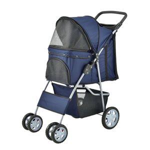 [pro.tec] Hundewagen Pet Stroller Hundebuggy Regenschutz zum Schieben Roadster inkl. Einkaufstasche Blau