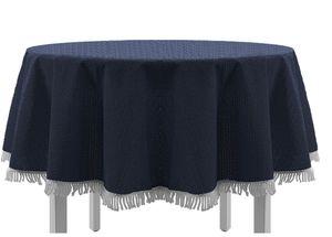 Gartentischdecke mit Fransen Tischdecke rund oval eckig Classic 160 cm rund blau