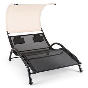 Blumfeldt Dandyland - Gartenliege , Relaxliege , Sonnendach , Schwingliege , für 2 Personen , extrabreite 130x200 cm Liegefläche , ergonomisch , Polyester-Gittergewebe , 200 kg max. , schwarz-beige