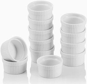 MALACASA, Serie Ramekin.Dish, 12-teilig Set, Porzellan Mini Souffléförmchen Creme Brulee Forme Ø 7cm 100 ml