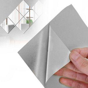 9 Stück Spiegelblätter Flexibler Nicht Glas Spiegel Kunststoff-Spiegel Selbstklebende Fliesen Spiegel Wandaufkleber, 6 Zoll x 6 Zoll