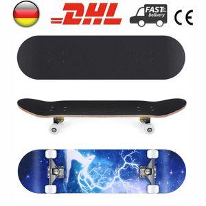 Skateboard Komplettboard 80x20cm Belastung 100kg mit ABEC-5 Kugellager 7-lagigem Ahornholz Motiv Star Hirsch für Kinder Jungendliche und Erwachsene