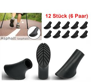 ✅GKA 12 Stück (6 Paar) Nordic Walking Asphaltpads für Trekkingstöcke Asphalt Ersatzfüße für Nordic Walking Stöcke Gummipuffer Trekking✅
