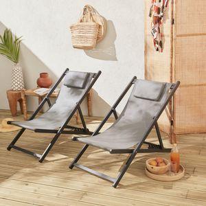 Set mit 2 Sonnenliegen - Gaia grau - Liegestuhl aus anthrazitfarbenem Aluminium und grauem Textilene mit Kopfstützenkissen, Liegestuhl