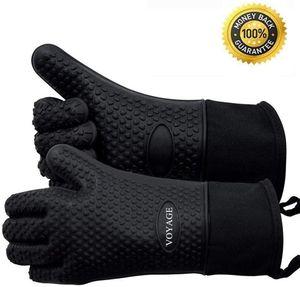 Premium Ofenhandschuhe (2er Set) bis zu 350°C - Silikon Extrem Hitzebeständige Grillhandschuhe BBQ Handschuhe zum Backen, Barbecue, Extra Lange Topfhandschuhe für Extreme Sicherheit(Schwarz)