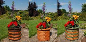 Pflanzkasten, Blumenkasten, Blumenkübel rund aus massivem Holz, für den Garten, Farbe:Braun - Schwarz