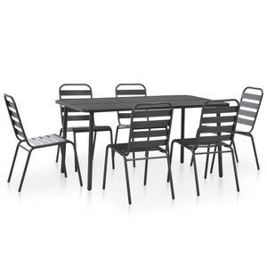 Gartenmöbel Essgruppe 6 Personen ,7-TLG. Terrassenmöbel Balkonset Sitzgruppe: Tisch mit 6 Stühle, Stahl Dunkelgrau❀3875