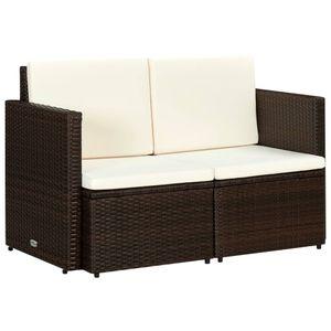 vidaXL 2-Sitzer-Gartensofa mit Auflagen Braun Poly Rattan