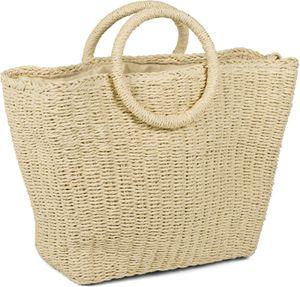 styleBREAKER Damen Korbtasche mit geflochtenem Umhängegurt, Kordelzug Verschluss, Bali Bag, Henkeltasche 02012370, Farbe:Beige