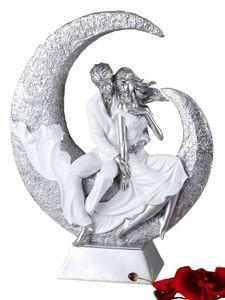 formano Dekoobjekt Paar im Halbmond, weiß silber, 40 cm