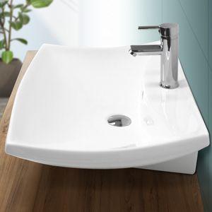 ECD Germany Waschbecken Waschtisch 605 x 460 x 165 mm aus Keramik Eckig Weiß mit Überlauf - Aufsatzbecken Aufsatzwaschbecken Handwaschbecken Aufsatzwaschtisch Spülbecken Becken Wasserfall Waschschale Waschschlüssel