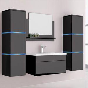 HOME DELUXE - Badmöbel WANGEROOGE XL - Schwarz (HB) Badezimmermöbel Waschbecken Unterschrank Spiegel