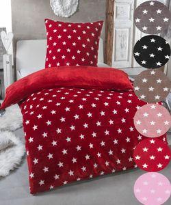 Warme Winter Plüsch Sterne Wende-Bettwäsche Nicky-Teddy 'Cashmere Touch'  viele Farben & Größen, Farbe:WEINROT, Größe:135 x 200 cm