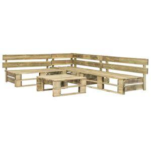 Huicheng 4-tlg. Garten-Sofagarnitur Lounge Set aus Paletten Holz Grün