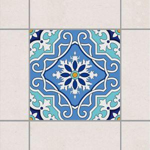 Fliesenaufkleber - Mediterranes Fliesenmuster blau türkis 20cm x 20cm - Fliesensticker Set, Setgröße:6teilig