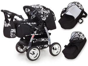Lux4Kids Kinderwagen Kombikinderwagen Megaset inkl. Wickeltasche Buggy 2in1 King Cream & Leopard