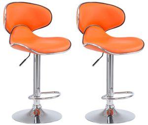 CLP 2er Set Barhocker Las Vegas V2 Kunstleder mit Fußstütze, Farbe:orange, Gestell Farbe:Chrom