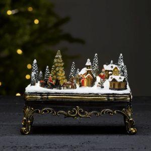 LED-Weihnachtszene 'Glasgow' - 6 warmweiße LED - Batteriebetrieb - H: 16,5cm - bunt