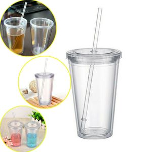 500ml Trinkbecher mit Strohhalm wiederverwendbare doppelwandige Kaltgetränke-Tee-Milch-Becher