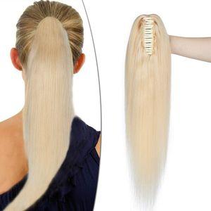 S-noilite Ponytail Extension Echthaar Pferdeschwanz Zopf Clip in Haarteil Haarverlängerung 100% Remy Haar mit Klammer Hellblond 45 cm