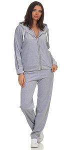 Damen Nicki Freizeitanzug Hausanzug Jogginganzug Nicki-Anzug, Grau-Schwarz XXL