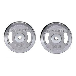 HAMMER Hanteln und Gewichte Gewichtsscheiben 2x 10 kg - chrom