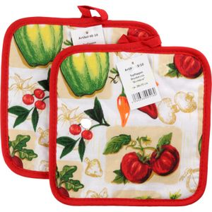 GKA 2er Set Topflappen Küche Motiv Gemüse Baumwolle gesteppt dicke Qualität rot-weiß 20x20 cm
