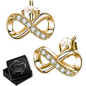 Unendlichkeit Ohrringe echt 925er Sterling Silber Gold Zirkonia Kristall Ohrstecker für Damen Mädchen K924+V12