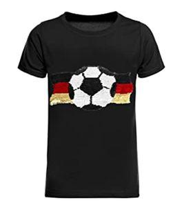 THREE OAKS Rundhals-Shirt stylisches Kinder Pailletten T-Shirt mit Glitzereffekt Schwarz, Größe:104