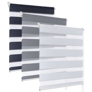 Rapid Teck® Klemmfix Doppelrollo Duo Rollo   150 cm Länge   Fensterrollo Grau